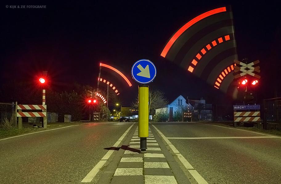 Geldermalsen Nachtfotografie spoorbomen